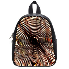 Gold Waves Circles Water Wave Circle Rings School Bags (small)  by Alisyart