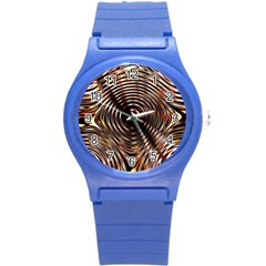 Gold Waves Circles Water Wave Circle Rings Round Plastic Sport Watch (s) by Alisyart