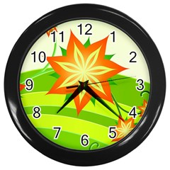 Graphics Summer Flower Floral Sunflower Star Orange Green Yellow Wall Clocks (black) by Alisyart