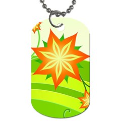 Graphics Summer Flower Floral Sunflower Star Orange Green Yellow Dog Tag (two Sides) by Alisyart