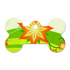 Graphics Summer Flower Floral Sunflower Star Orange Green Yellow Dog Tag Bone (two Sides) by Alisyart