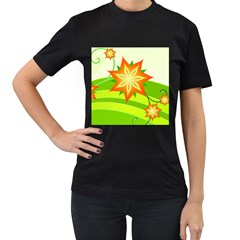 Graphics Summer Flower Floral Sunflower Star Orange Green Yellow Women s T Shirt (black) by Alisyart