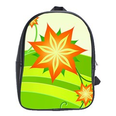 Graphics Summer Flower Floral Sunflower Star Orange Green Yellow School Bags(large)  by Alisyart