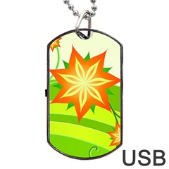 Graphics Summer Flower Floral Sunflower Star Orange Green Yellow Dog Tag Usb Flash (two Sides) by Alisyart