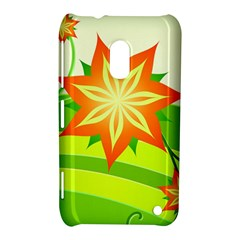 Graphics Summer Flower Floral Sunflower Star Orange Green Yellow Nokia Lumia 620 by Alisyart