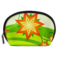Graphics Summer Flower Floral Sunflower Star Orange Green Yellow Accessory Pouches (large)  by Alisyart