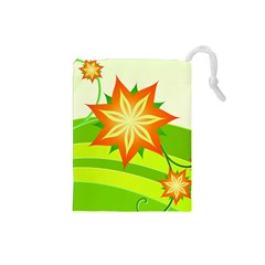 Graphics Summer Flower Floral Sunflower Star Orange Green Yellow Drawstring Pouches (small)  by Alisyart