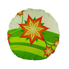 Graphics Summer Flower Floral Sunflower Star Orange Green Yellow Standard 15  Premium Flano Round Cushions by Alisyart