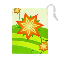 Graphics Summer Flower Floral Sunflower Star Orange Green Yellow Drawstring Pouches (extra Large) by Alisyart