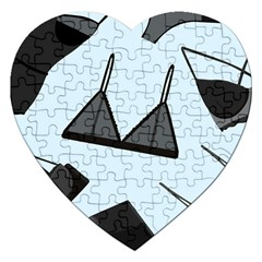 Grown Ups Guide To Underwear Opener Black Blue Jigsaw Puzzle (heart) by Alisyart