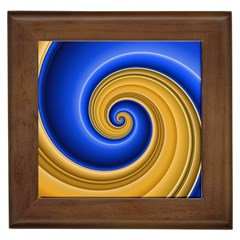 Golden Spiral Gold Blue Wave Framed Tiles by Alisyart
