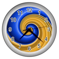 Golden Spiral Gold Blue Wave Wall Clocks (silver)  by Alisyart
