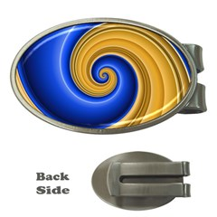 Golden Spiral Gold Blue Wave Money Clips (oval)  by Alisyart