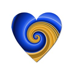 Golden Spiral Gold Blue Wave Heart Magnet by Alisyart