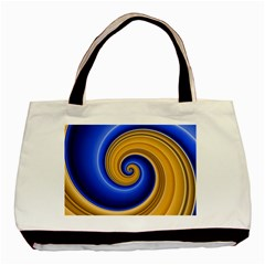 Golden Spiral Gold Blue Wave Basic Tote Bag (two Sides) by Alisyart