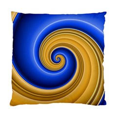Golden Spiral Gold Blue Wave Standard Cushion Case (two Sides) by Alisyart