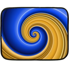 Golden Spiral Gold Blue Wave Fleece Blanket (mini) by Alisyart