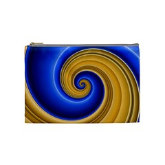 Golden Spiral Gold Blue Wave Cosmetic Bag (medium)  by Alisyart