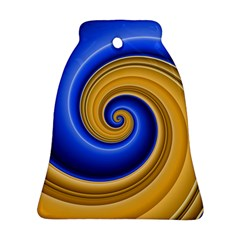 Golden Spiral Gold Blue Wave Ornament (bell) by Alisyart