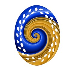 Golden Spiral Gold Blue Wave Oval Filigree Ornament (two Sides) by Alisyart