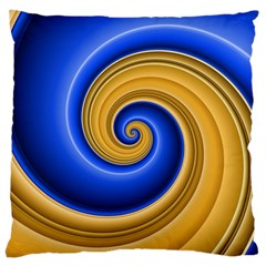 Golden Spiral Gold Blue Wave Large Cushion Case (one Side) by Alisyart