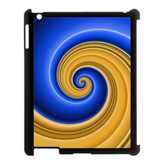 Golden Spiral Gold Blue Wave Apple Ipad 3/4 Case (black) by Alisyart