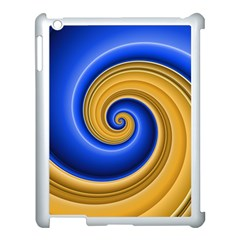 Golden Spiral Gold Blue Wave Apple Ipad 3/4 Case (white) by Alisyart