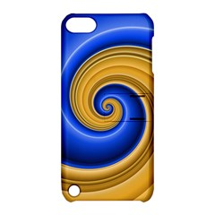 Golden Spiral Gold Blue Wave Apple Ipod Touch 5 Hardshell Case With Stand by Alisyart