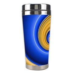 Golden Spiral Gold Blue Wave Stainless Steel Travel Tumblers by Alisyart
