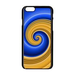 Golden Spiral Gold Blue Wave Apple Iphone 6/6s Black Enamel Case by Alisyart
