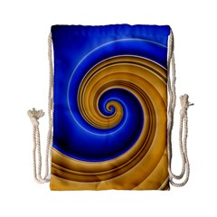 Golden Spiral Gold Blue Wave Drawstring Bag (small) by Alisyart