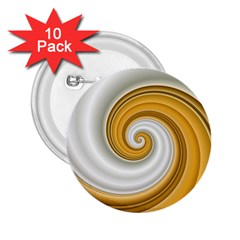 Golden Spiral Gold White Wave 2 25  Buttons (10 Pack)  by Alisyart