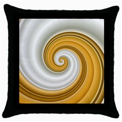 Golden Spiral Gold White Wave Throw Pillow Case (black) by Alisyart