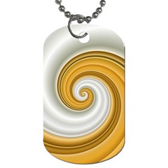 Golden Spiral Gold White Wave Dog Tag (one Side) by Alisyart