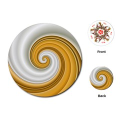 Golden Spiral Gold White Wave Playing Cards (round)  by Alisyart
