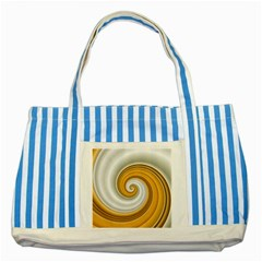 Golden Spiral Gold White Wave Striped Blue Tote Bag by Alisyart