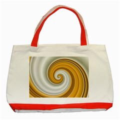 Golden Spiral Gold White Wave Classic Tote Bag (red) by Alisyart