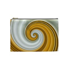 Golden Spiral Gold White Wave Cosmetic Bag (medium)  by Alisyart