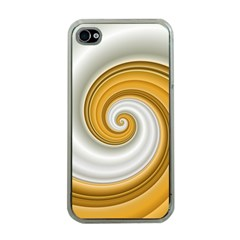 Golden Spiral Gold White Wave Apple Iphone 4 Case (clear) by Alisyart