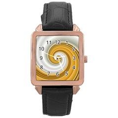 Golden Spiral Gold White Wave Rose Gold Leather Watch  by Alisyart