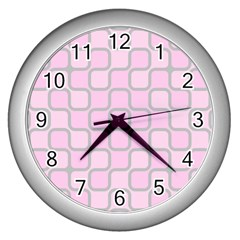 Light Pastel Pink Wall Clocks (silver)  by Alisyart