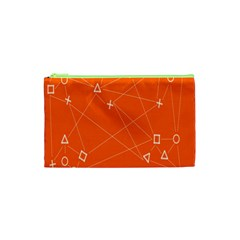 Leadership Deep Dive Orange Line Circle Plaid Triangle Cosmetic Bag (xs) by Alisyart