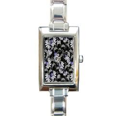 Flourish Floral Purple Grey Black Flower Rectangle Italian Charm Watch by Alisyart