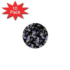 Flourish Floral Purple Grey Black Flower 1  Mini Buttons (10 Pack)  by Alisyart
