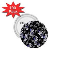 Flourish Floral Purple Grey Black Flower 1 75  Buttons (100 Pack)  by Alisyart