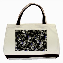 Flourish Floral Purple Grey Black Flower Basic Tote Bag (two Sides) by Alisyart