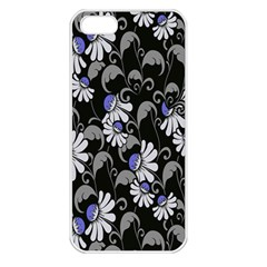 Flourish Floral Purple Grey Black Flower Apple Iphone 5 Seamless Case (white) by Alisyart