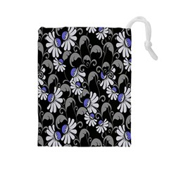 Flourish Floral Purple Grey Black Flower Drawstring Pouches (large)  by Alisyart