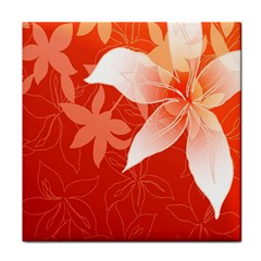 Lily Flowers Graphic White Orange Tile Coasters by Alisyart