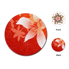 Lily Flowers Graphic White Orange Playing Cards (round)  by Alisyart